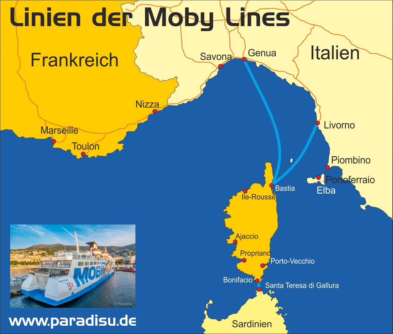 Karte Fähre Korsika Moby Lines