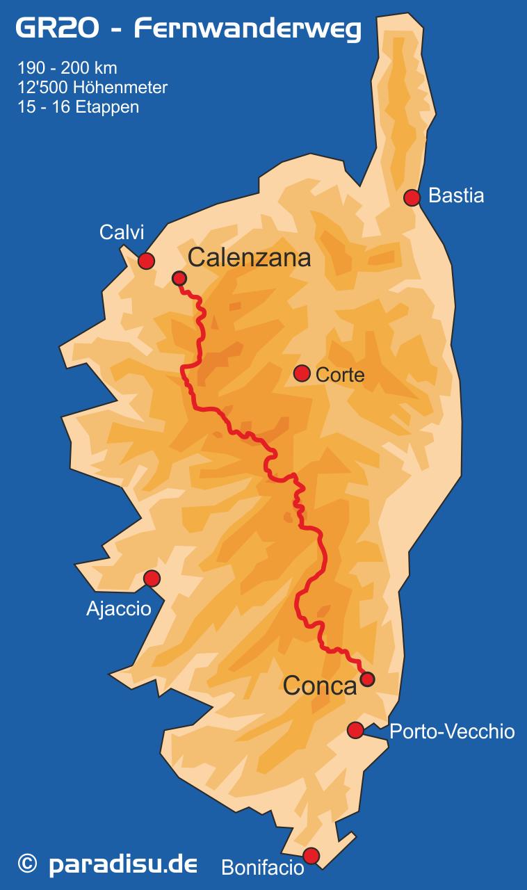 Korsika Karte GR20