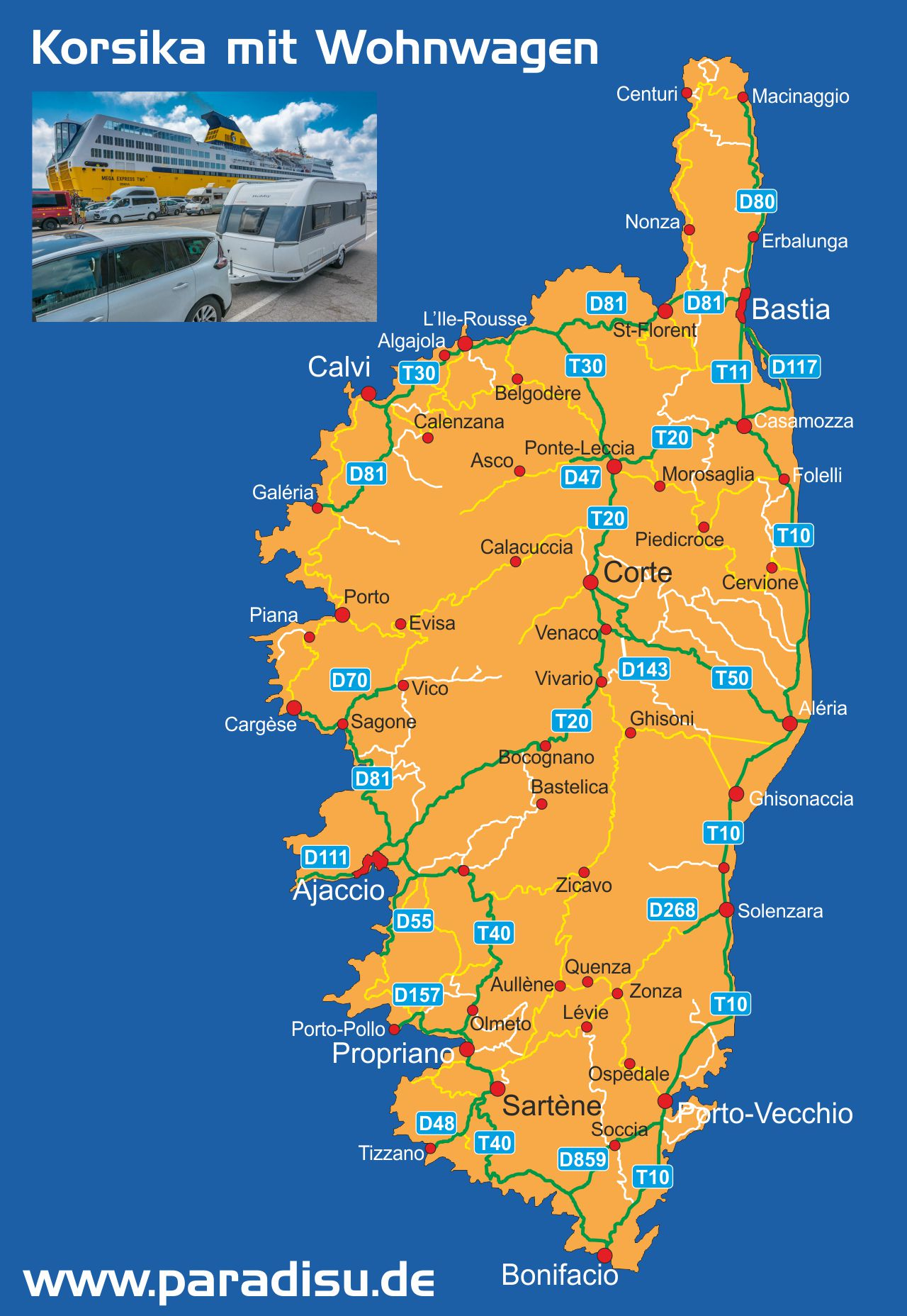 Korsika mit Wohnwagen Karte