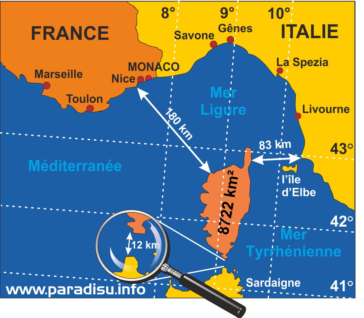 Profile de l Ile de Corse Carte