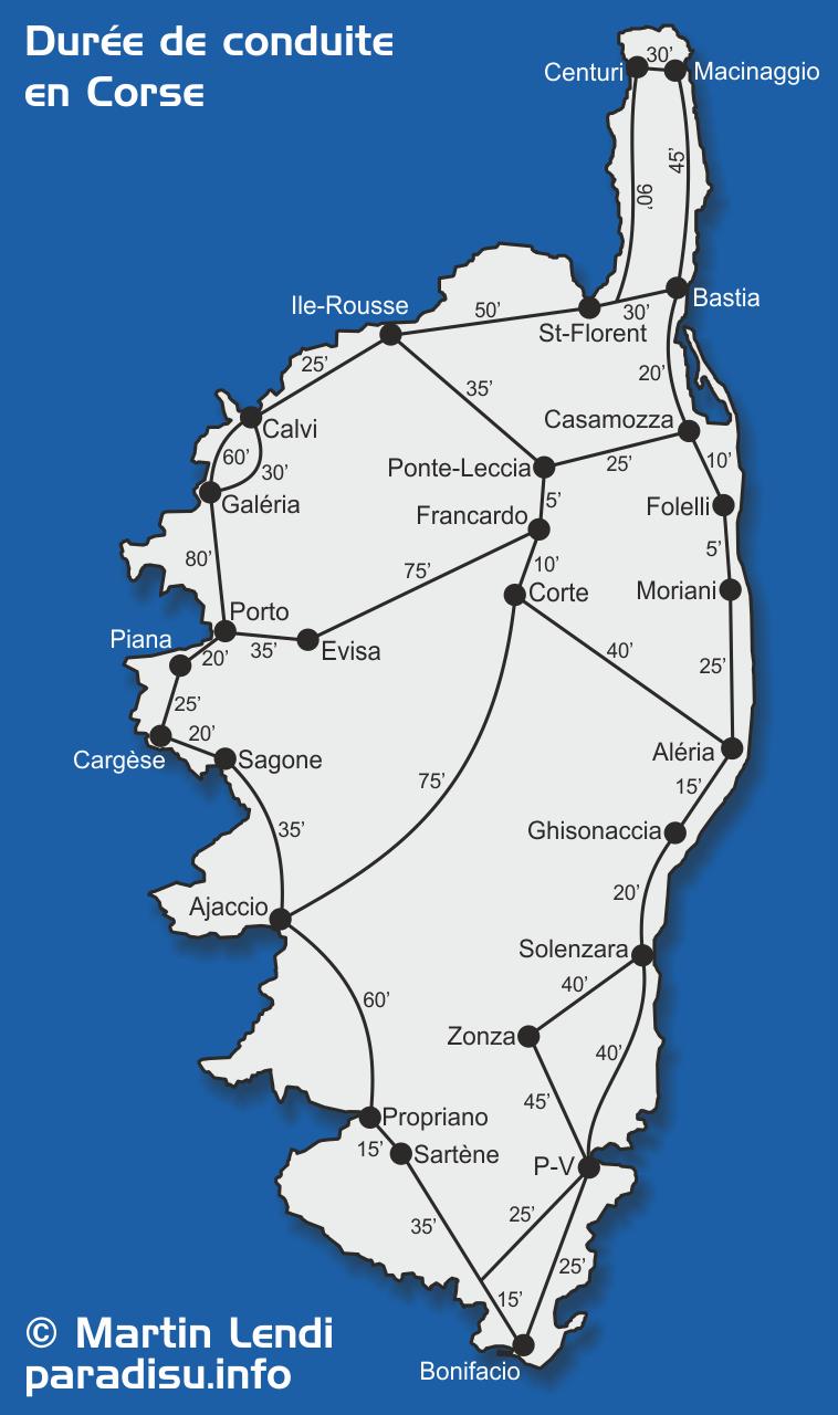 Durée de conduite en Corse - Carte