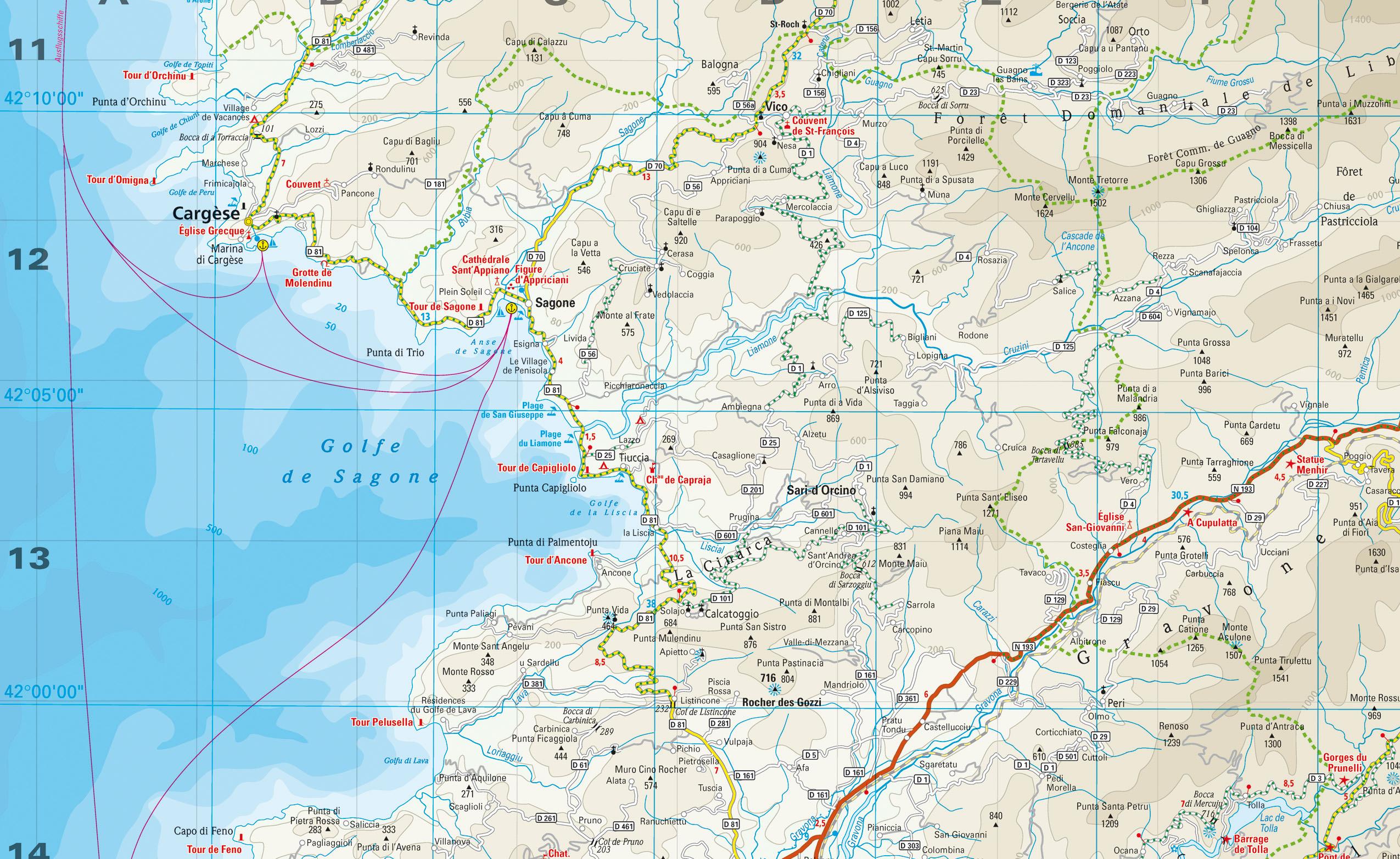 Karte Golf Von Sagone - Golfe De Sagone Carte