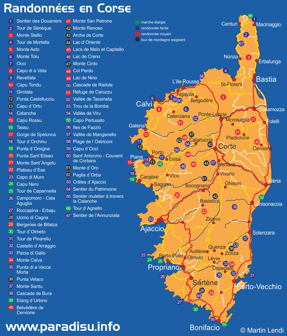 Randonnées en Corse carte